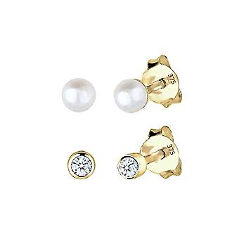Elli PREMIUM 0309660214 Set of yellow gold 375 women's stud earrings - with white pearls grown d' fresh water or diamond (0 -06 ct) bright cut