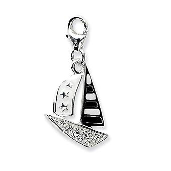 925 Sterling Silver Rhodium-plaqué Fancy Lobster Closure 3-d Enameled Sailboatw Lobster Clasp Charm - Mesures 27x12mm