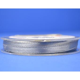 10m Silver Grey 7mm Wide Polyester Satin Craft Ribbon
