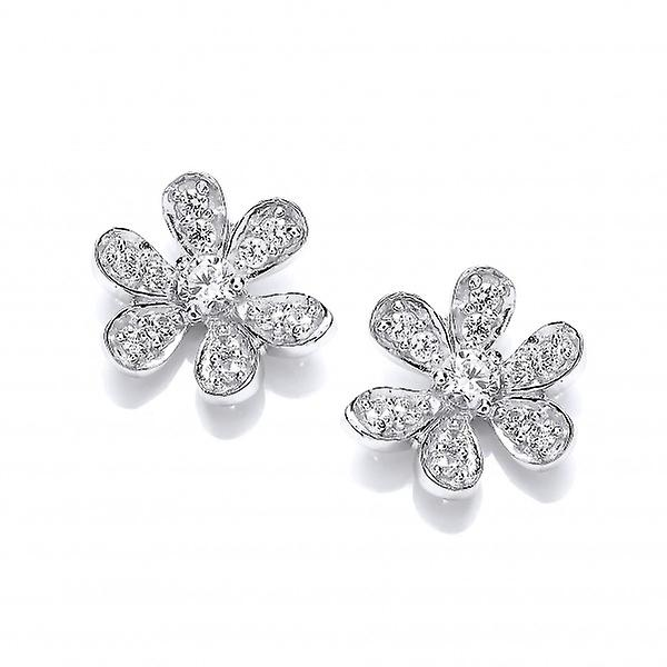 Cavendish French Sterling Silver and CZ Flower Stud Earrings