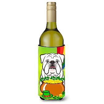 White English Bulldog  St. Patrick's Day Wine Bottle Koozie Hugger BB1964LITERK