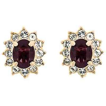 Clip On Earrings Store Gold & Purple and Clear Swarovski Crystal Oval Clip on Ea
