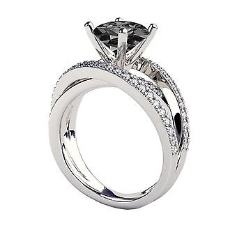 2.50 CTW 14K White Gold Black Diamond Ring with Diamonds Multi Band Unique Vintage