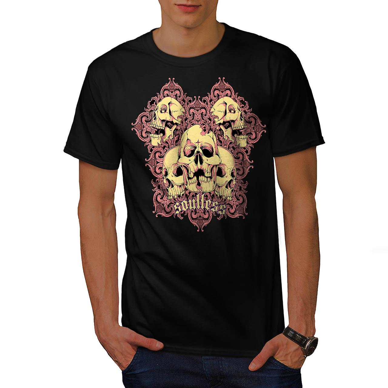 Soul Less Ghost Skull Grave Yard Men Black T-shirt | Wellcoda