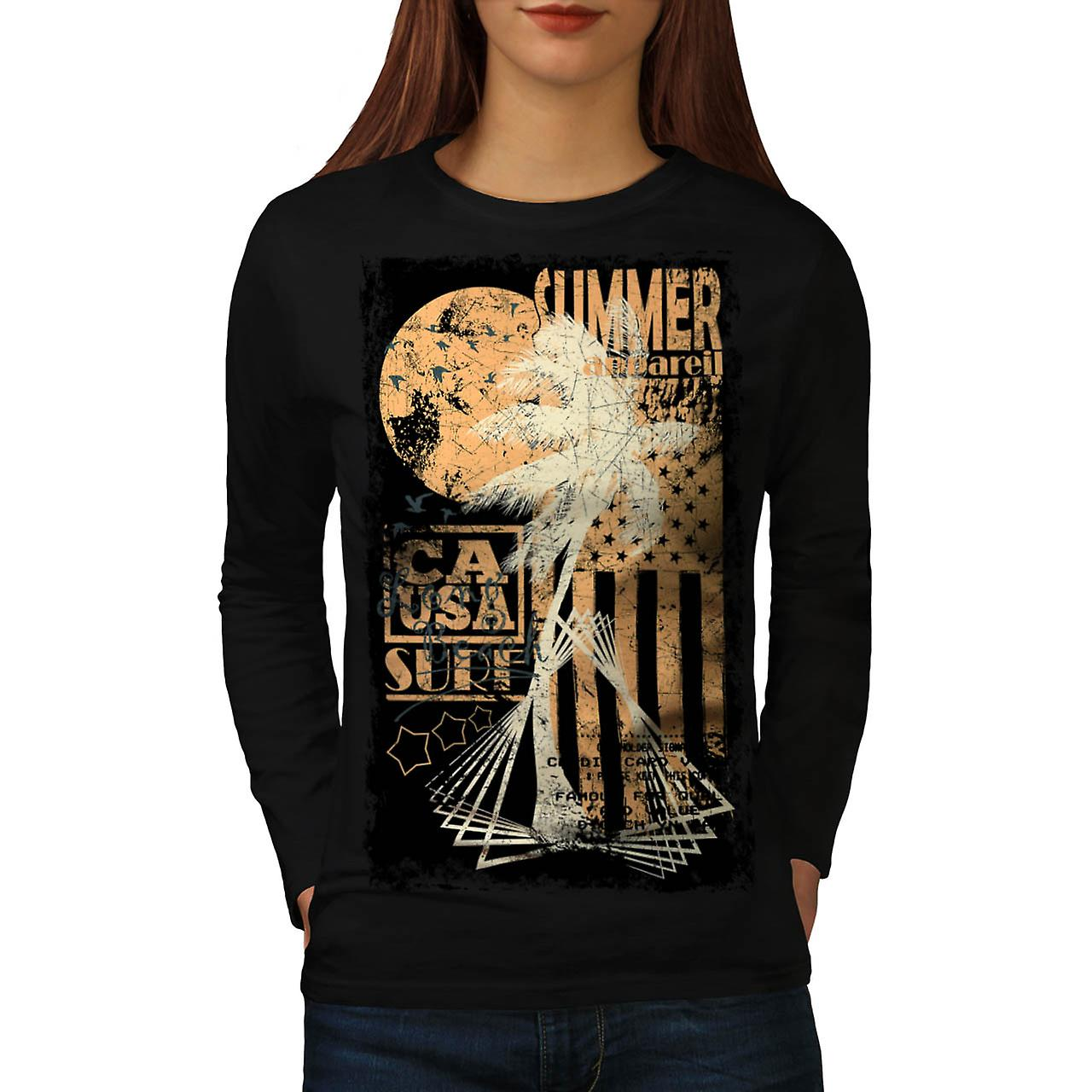 Summer Surfer Apparel California Women Black Long Sleeve T-shirt | Wellcoda