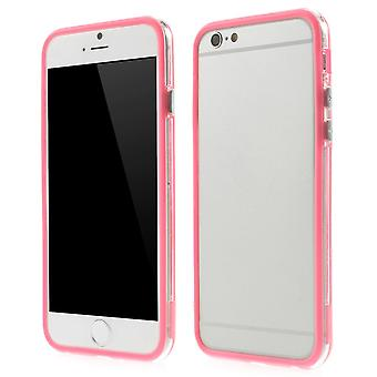 Bumper in TPU rubber and hard plastic for Apple iPhone 6 4.7 (rose + transparent)