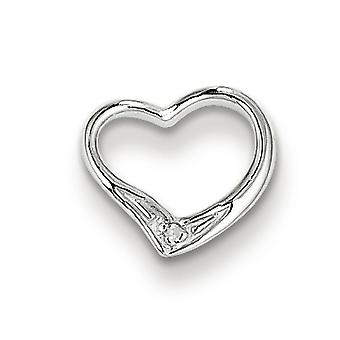 Sterling Silver Rhodium Diamond Floating Heart Pendant
