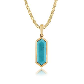 Gemondo Gold Plated Silver 1.7ct Turquoise Hexagonal Prism Pendant on 45cm Chain