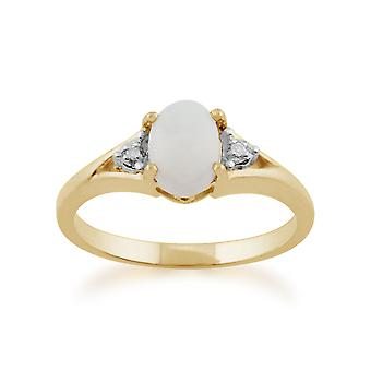 Anello oro giallo 0,42 ct 9ct Opal & diamante pietra singola
