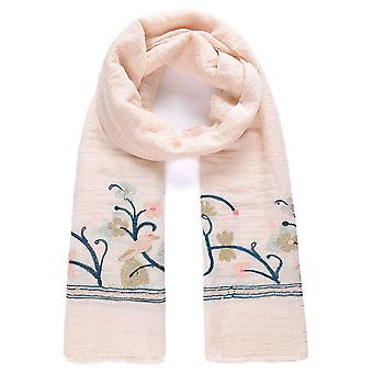 Jewel City Embroidered Long Scarf Birds And Butterflies - Pink
