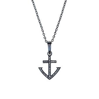 Latelita Mens Diamond Anchor Pendant Necklace 925 Sterling Silver Oxidised