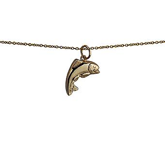 9ct Gold 19x14mm Fish Pendant with a cable Chain 20 inches