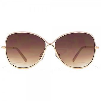 Carvela Glamorous Metal Sunglasses In Shiny Gold