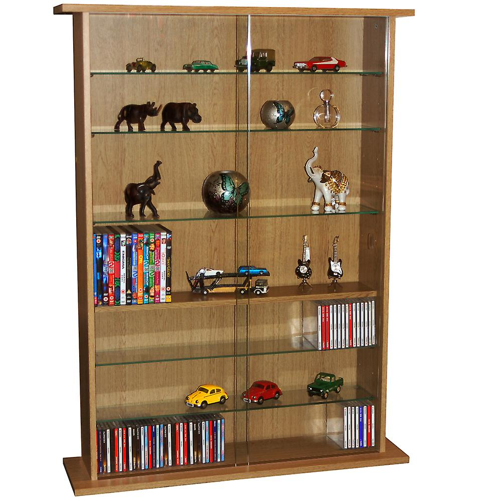 Boston - Glass Collectable Display Cabinet / 600 Cd / 255 Dvd Storage Shelves - Oak
