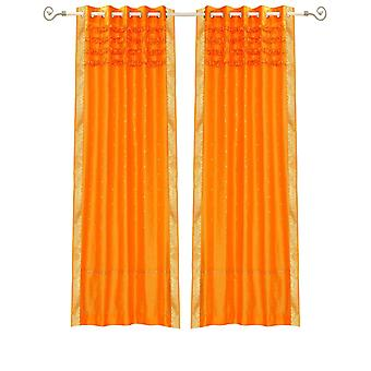 Pumpkin Hand Crafted Grommet Top Sheer Sari Curtain Panel -Piece