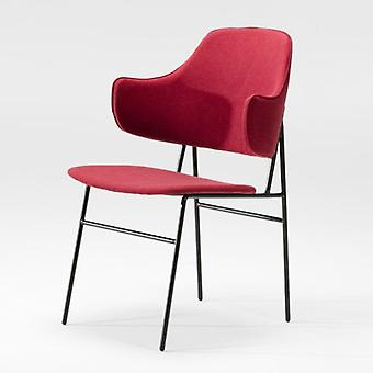 Wellindal 52x58x78 Black Metal Chair and Red Fabric