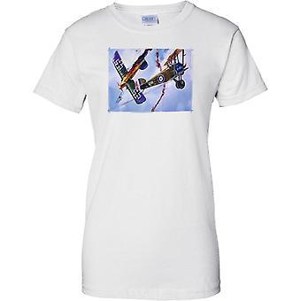 Wojny światowej 1 dwupłatowca Dogfight - RAF v Luftwaffe - Panie T Shirt
