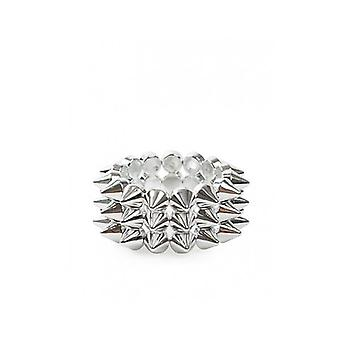 The Fashion Bible Celia Three Row Spike Rivet Bracelet In Silver