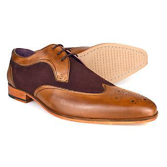 Gucinari Lansky Tan & brun læder formelle Brogue sko AMP16-1