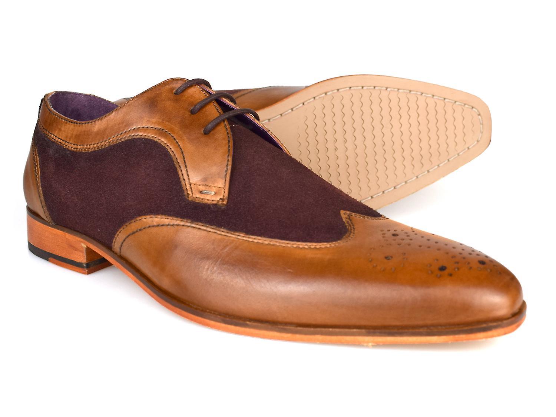Gucinari Lansky Tan Brogue & Brown Leather Formal Brogue Tan Shoes AMP16-1 c1f484