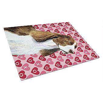 Springer Spaniel Hearts Love and Valentine's Day Glass Cutting Board Large