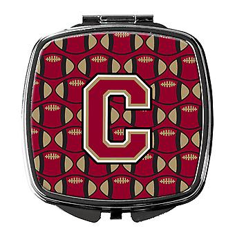 Letter C Football Garnet and Gold Compact Mirror