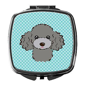 Checkerboard Blue Silver Gray Poodle Compact Mirror