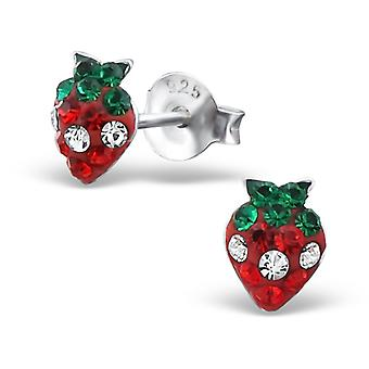 Strawberry - 925 Sterling Silver Crystal Ear Studs