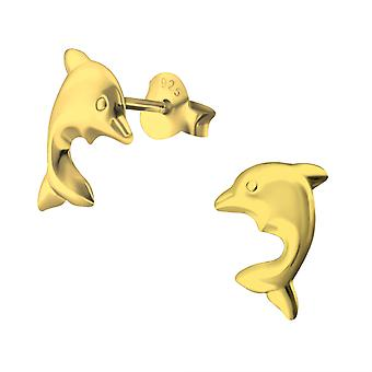 Dolphin - 925 Sterling Silver Plain Ear Studs