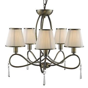 Simplicity Antique Brass And Crystal Five Light Ceiling Light With Shades - Searchlight 1035-5ab