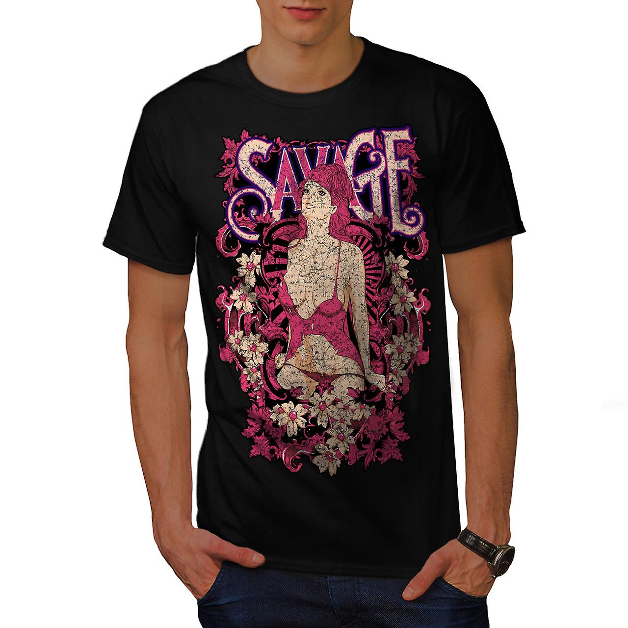 Savage Girl Flower Sexy Men Black T-shirt | Wellcoda