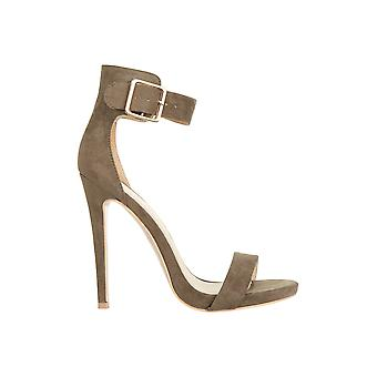 Truffle Collection Suede High Heeled Sandal With Buckle Detail