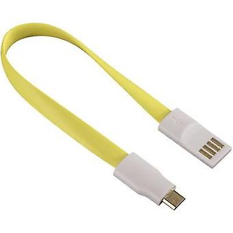 Hama USB 2.0 Cable [1x USB 2.0 connector A - 1x USB 2.0 connector Micro B] 0.2 m Yellow Cable end magnets