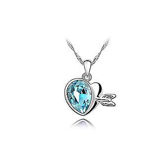 Blå Womens ädelsten hjärta halsband hängsmycke