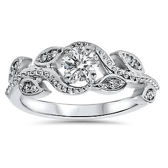 3/8ct Vintage Floral Leaf Diamond Engagement Ring 14K White Gold
