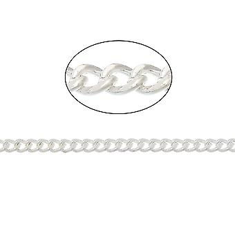 10m x Silver Plated Iron Alloy 2.2 x 2.8mm Closed Curb Chain CH1930