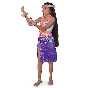 Aloha Hawaiian Traveller Purple Girls Costume Skirt Lei Headband Bracelet Kit