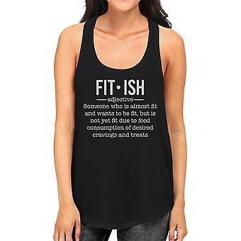 Fit-ish Womens zwarte schattig uitwerkt Tank Top Fitness cadeau voor haar