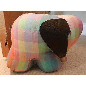 Elma Check Elephant Door Banger / Doorstop by Monica Richards