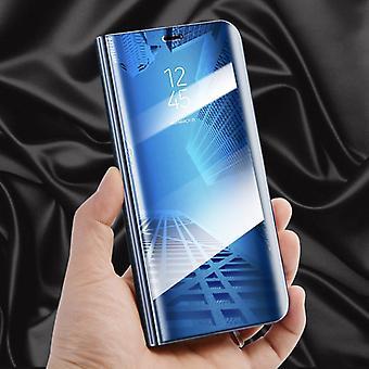 Clear View Spiegel Mirror Smartcover Blau für Huawei P20 Schutzhülle Cover Etui Tasche Hülle Neu Case Wake UP Funktion