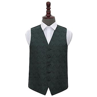 Chaleco de boda Paisley verde esmeralda