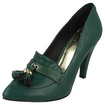 Ladies Spot On Heeled Court Tassel Trim Tongue