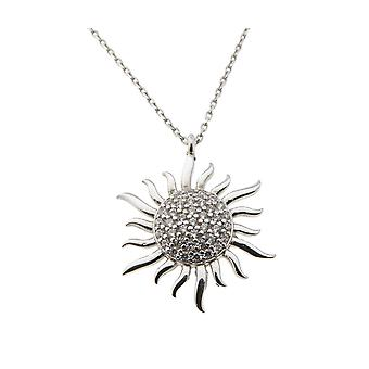 White gold necklace and zirconia Sun pendant