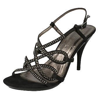 Ladies Spot On High Heel Diamante X Strap Sandal F1749