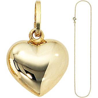 Charms, small heart sweetheart 333 gold with chain 45 cm gold heart