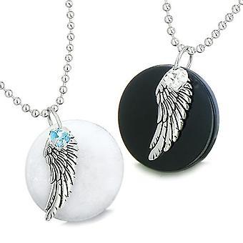 Amulette Engelsflügel Liebespaar oder beste Freunde gesetzt Jade Onyx Swarovski Elemente Herz Halsketten