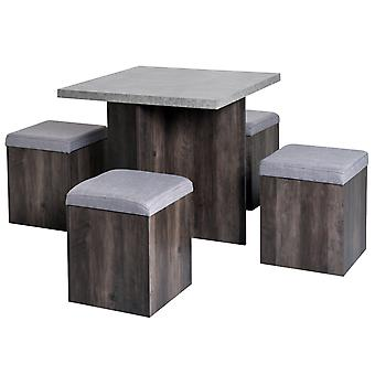 HOMCOM 5 Pieces Particle Board Dining Table 4 Storage Ottoman Chair Seat Removable Lid