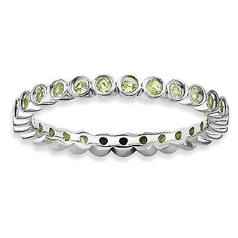 Sterling Silver Bezel Polished Patterned Rhodium-plated Stackable Expressions Peridot Ring - Ring Size: 5 to 10