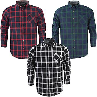 Brave Soul Mens Mendel Cotton Check Checked Long Sleeve Buttoned Shirt Top