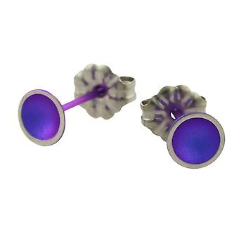 Ti2 Titanium Tiny Dome Stud Earrings - Imperial Purple